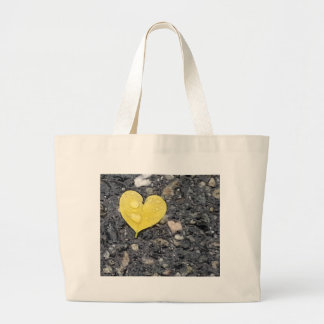 Yellow Heart Leaf with Raindrop Tote Bags