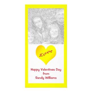 yellow heart personalised photo card