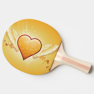 yellow heart with wings ping pong paddle