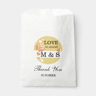 Yellow Hearts And Butterflies | Monogram Party Favour Bags