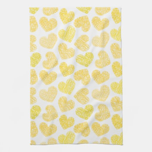 Yellow Hearts Kitchen Towel