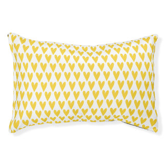 Yellow Hearts Pattern Pet Bed