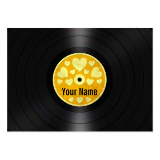 Yellow Hearts Personalized Vinyl Record Album Business Card