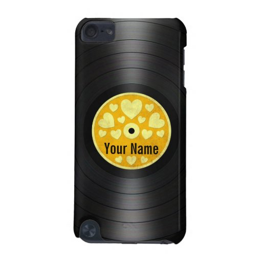 Yellow Hearts Personalized Vinyl Record Album iPod Touch 5G Covers