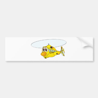 Yellow Helicopter Cartoon Bumper Sticker