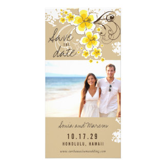 Yellow Hibiscus Beach Wedding Save The Date Card Picture Card