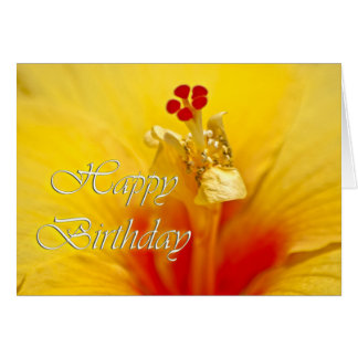 Yellow Hibiscus Birthday Card