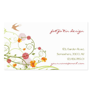 Yellow Hibiscus Chic Floral Swirls Swallows Birds Pack Of Standard Business Cards