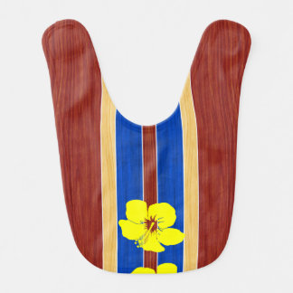 Yellow Hibiscus Fake Wood Surfboard Bib