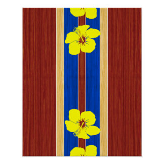 Yellow Hibiscus Fake Wood Surfboard Poster