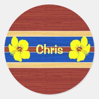 Yellow Hibiscus Fake Wood Surfboard Round Sticker