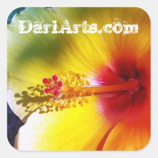 Yellow Hibiscus Flower custom name stickers