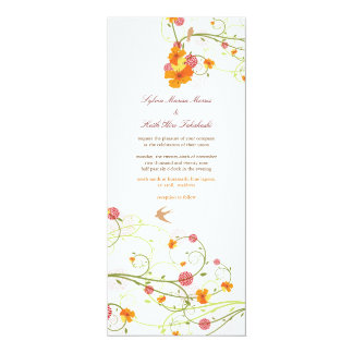 Yellow Hibiscus Flower Floral Birds Summer Wedding 10 Cm X 24 Cm Invitation Card