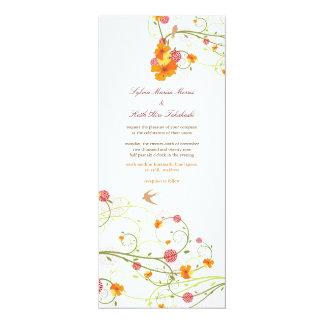 Yellow Hibiscus Flower Floral Birds Summer Wedding 10 Cm X 24 Cm Invitation Card