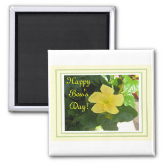 Yellow Hibiscus for the Boss Frig Magnet! Square Magnet