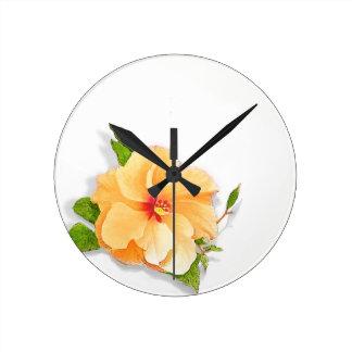 Yellow Hibiscus Round Clock