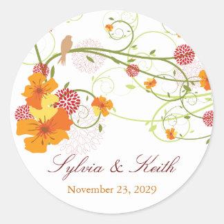 Yellow Hibiscus Swirls Spring Wedding Gift Tag Round Sticker