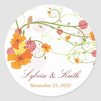 Yellow Hibiscus Swirls Spring Wedding Gift Tag Round Stickers
