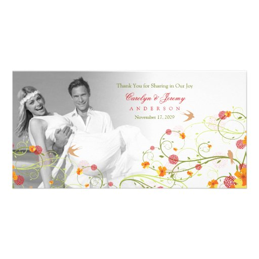 Yellow Hibiscus Swirls Spring Wedding Thank You Customized Photo Card