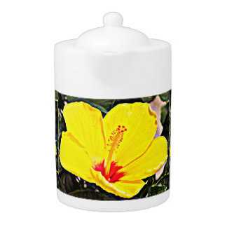 Yellow Hibiscus Tea Pot