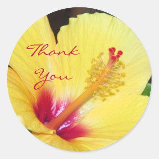 Yellow Hibiscus Thank You Round Sticker