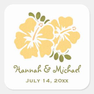 Yellow Hibiscus Wedding Favour Sticker Seal