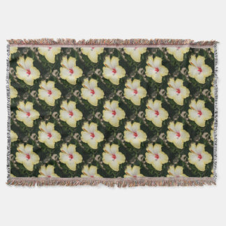 Yellow Hibiscus With Garden Background Throw Blanket