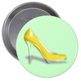 Yellow High Heel Shoe Round Button