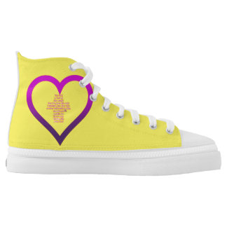 Yellow High Top Shoes God's Love Printed Shoes
