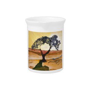 Yellow Hill Top Tree Landscape Painting Pitcher