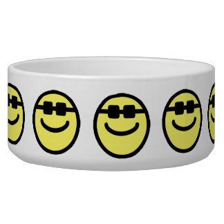 Yellow Hip Black Shades Smiley Face Pet Bowls