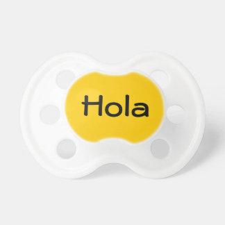 Yellow Hola Spanish Hello Cute Baby Binkie Dummy Pacifiers