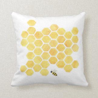 Yellow honeycomb beehive pillow