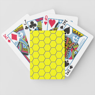 Yellow honeycomb pattern bicycle playing cards