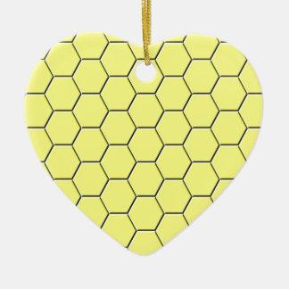 Yellow honeycomb pattern ceramic heart decoration