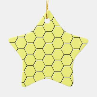 Yellow honeycomb pattern ceramic ornament