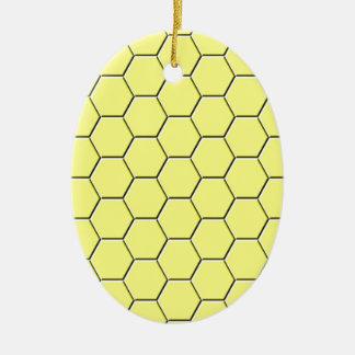 Yellow honeycomb pattern ceramic oval decoration