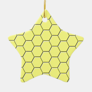 Yellow honeycomb pattern ceramic star decoration