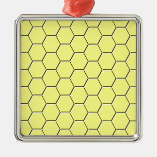 Yellow honeycomb pattern metal ornament