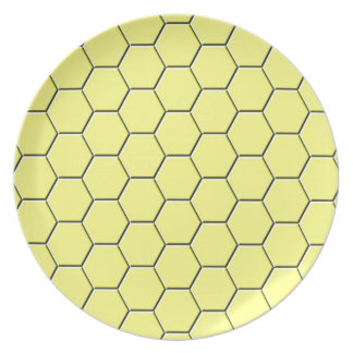 Yellow honeycomb pattern party plate