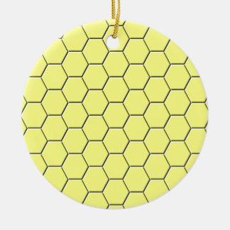 Yellow honeycomb pattern round ceramic decoration