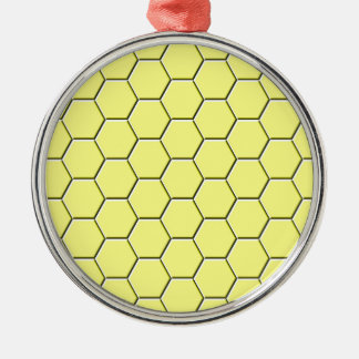 Yellow honeycomb pattern Silver-Colored round decoration