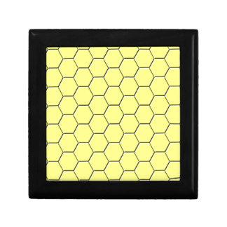 Yellow honeycomb pattern small square gift box