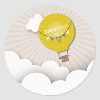 Yellow Hot Air Balloon Birthday Party Sticker