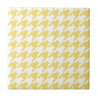 Yellow Houndstooth Small Square Tile