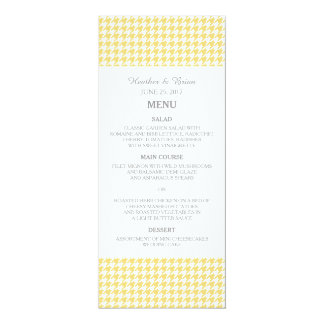 Yellow Houndstooth Wedding Menu Custom Invite