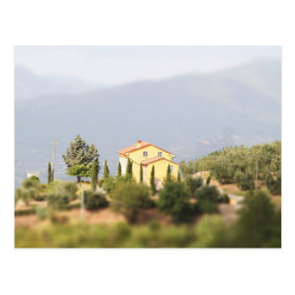Yellow house in the Tuscany Postcard