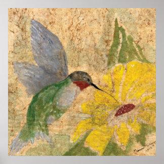 Yellow Hummingbird Poster
