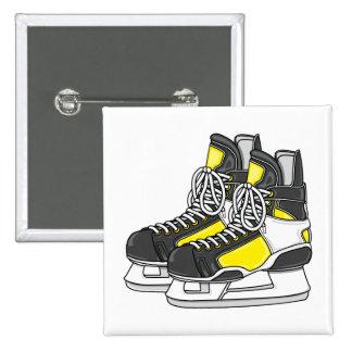 Yellow Ice Hockey Skates Pinback Buttons