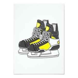 """Yellow Ice Hockey Skates 5"""" X 7"""" Invitation Card"""